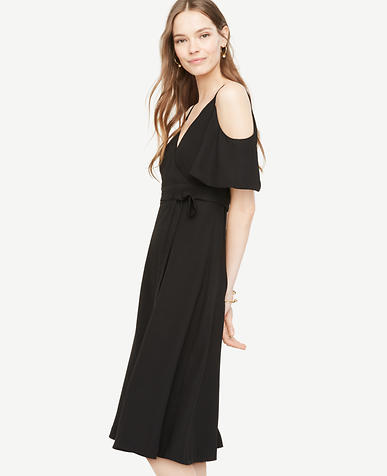 Image of Cold Shoulder Faux Wrap Dress