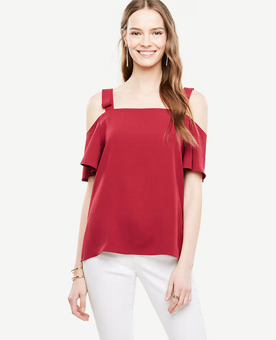 Image of Bow Cold Shoulder Blouse