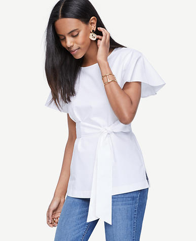 Image of Short Sleeve Tie-Waist Poplin Top