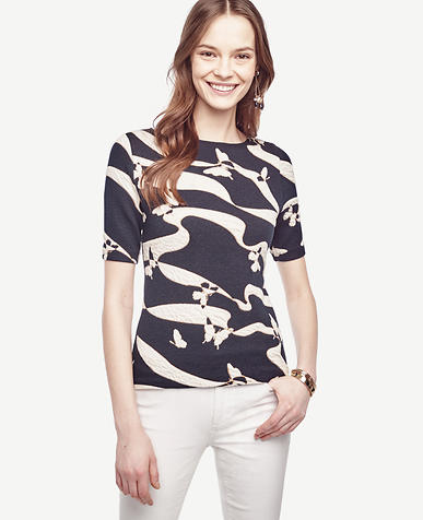 Image of Petite Butterfly Jacquard Top