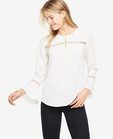 Image of Lace Detail Flare Sleeve Top