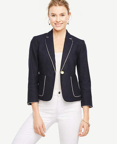 Image of Piped Linen Blend Blazer
