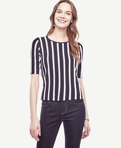 Image of Petite Striped Sweater Tee