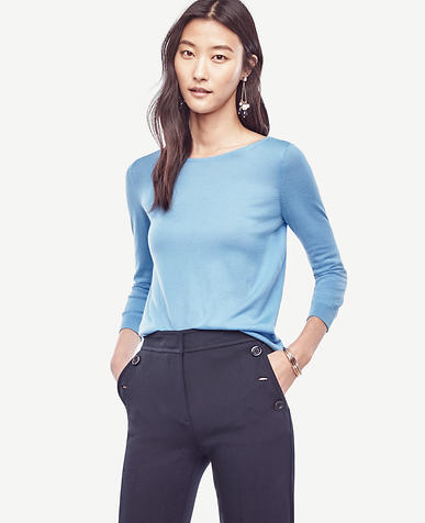 Image of Petite Extrafine Merino Wool Boatneck Sweater