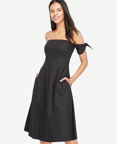 Image of Off The Shoulder Tie Sleeve Flare Dress