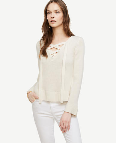 Image of Wool Cashmere Lace Up Sweater