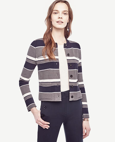 Image of Petite Navy Stripe Pocket Sweater Jacket