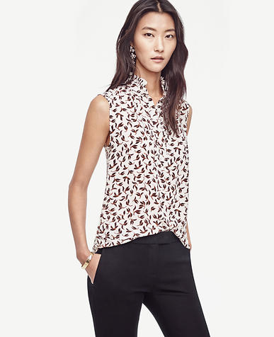 Image of Leafy Ruffle Collar Sleeveless Top