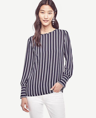 Image of Petite Striped Wide Cuffed Blouse