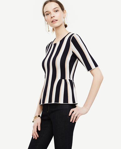 Image of Stripe Shirred Peplum Sweater