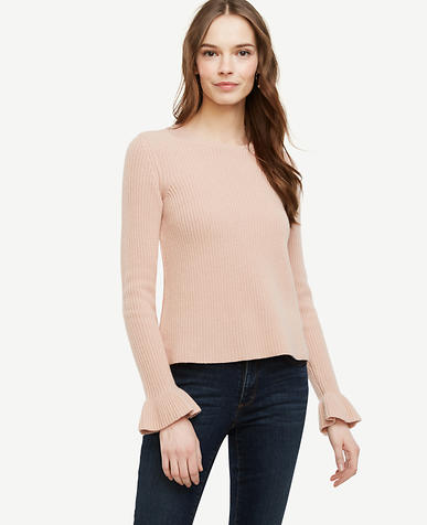 Image of Ruffle Cuff Wool Cashmere Sweater