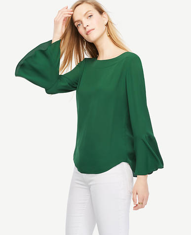 Image of Fluted Sleeve Blouse