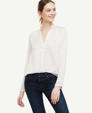 Image of Pleated Collar Blouse