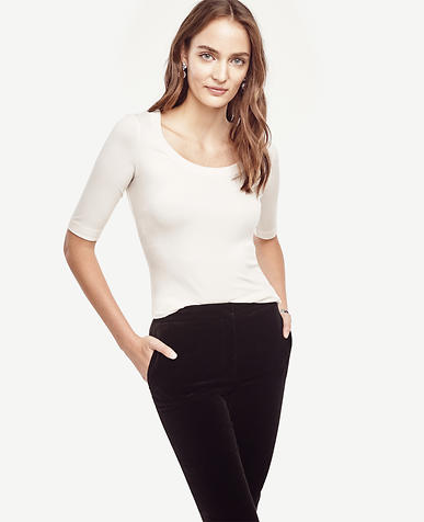 Image of Ribbed Scoop Neck Top