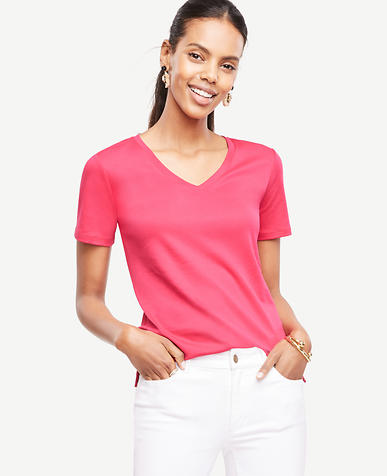 Image of Pima Cotton V-Neck Tee
