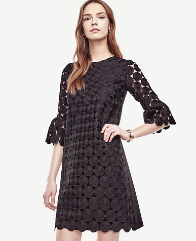 Image of Petite Circle Lace Bell Sleeve Dress