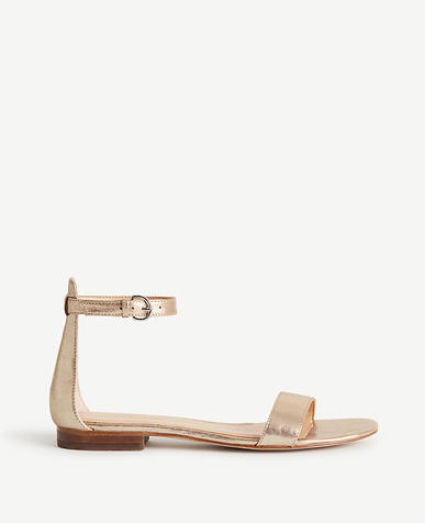 Image of Brinley Metallic Leather Flat Sandals