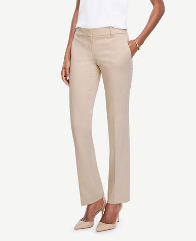 Image of Petite Devin Cotton Sateen Straight Leg Pants