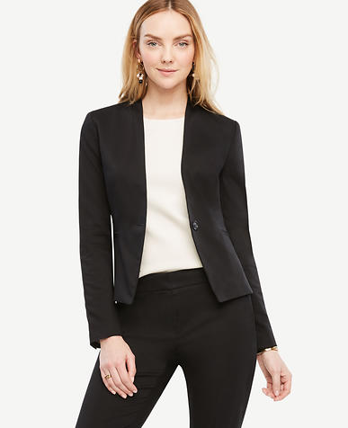 Image of Tall Cotton Sateen Collarless Jacket