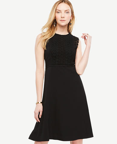 Image of Petite Lace Trim Flare Dress