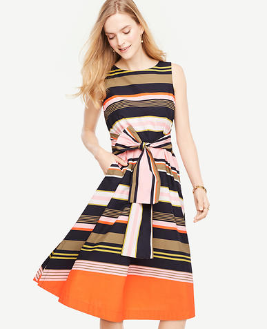 Image of Petite Striped Sleeveless Belted Dress