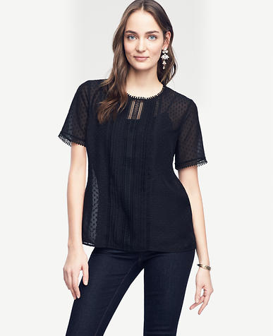 Image of Petite Lacy Pleated Tee
