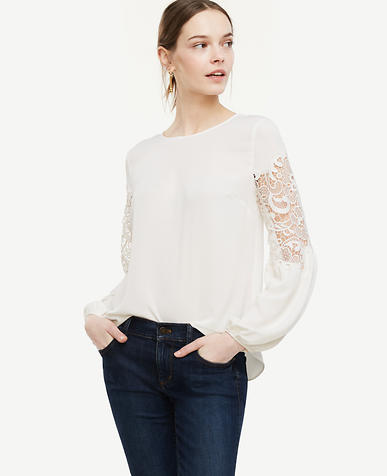 Image of Lacy Lantern Sleeve Blouse