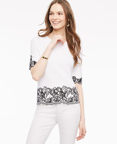 Image of Embroidered Floral Short Sleeve Sweater