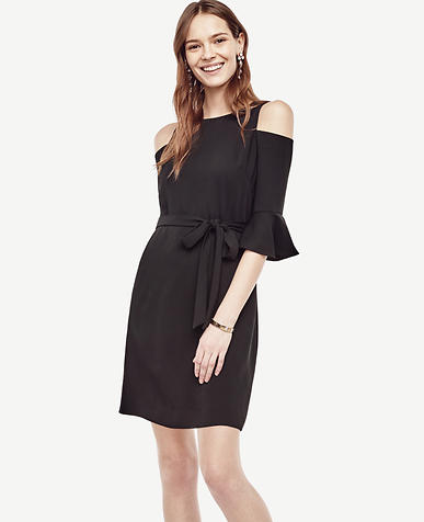 Image of Petite Cold Shoulder Belted Shift Dress