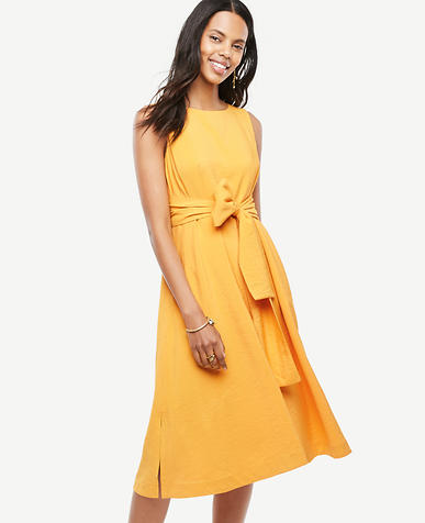 Image of Sleeveless Belted Dress