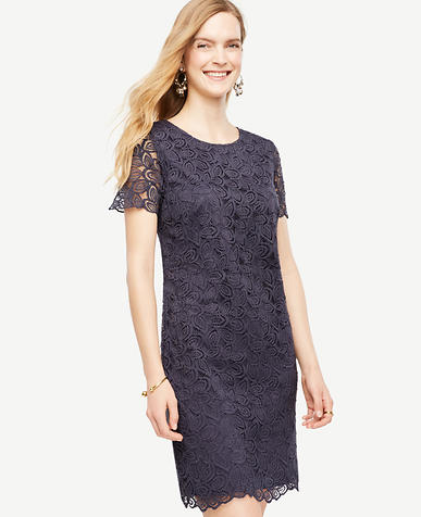 Image of Petite Leaf Lace Shift Dress