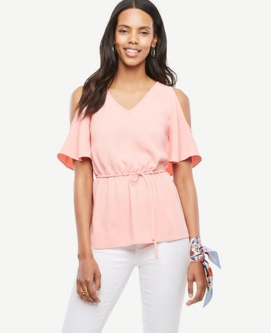 Image of Cold Shoulder Tie Waist Top