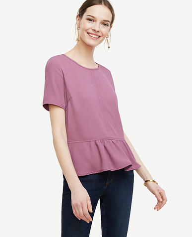 Image of Matte Jersey Peplum Top