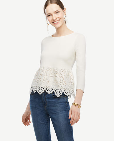 Image of Botanical Lace Peplum Sweater