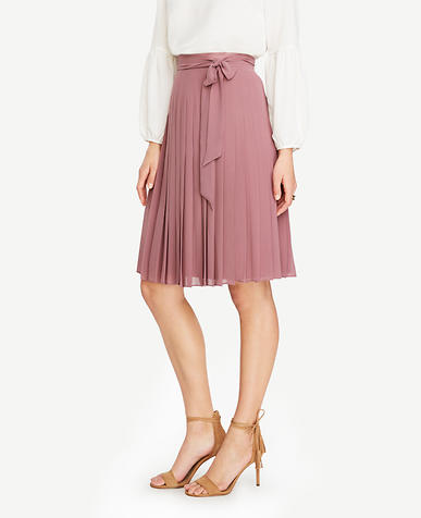 Image of Petite Side Tie Pleated Skirt