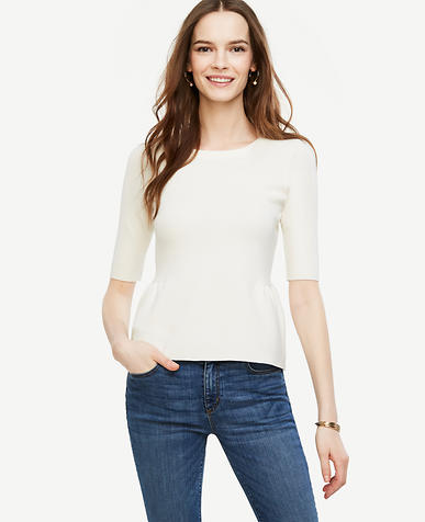Image of Petite Shirred Peplum Sweater
