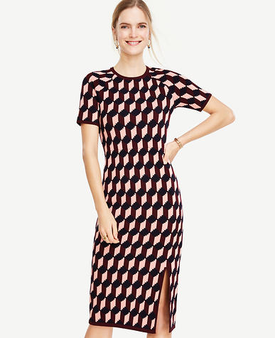 Image of Petite Geo Jacquard Sweater Sheath Dress