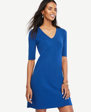 Image of V-Neck Sweater Dress