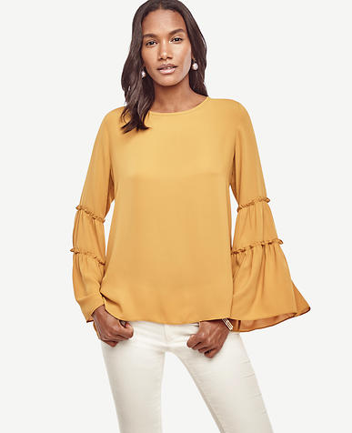 Image of Tiered Lantern Sleeve Blouse