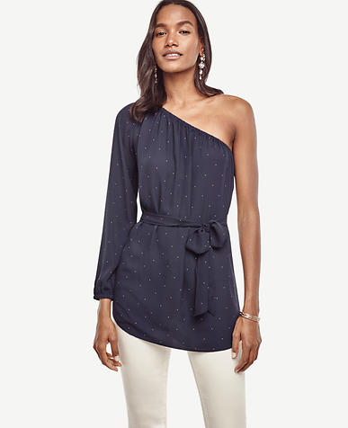 Image of Pindot Belted One Shoulder Blouse