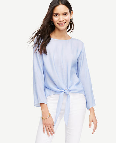 Image of Textured Tie Waist Blouse