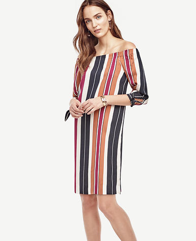 Image of Petite Striped Off The Shoulder Dress