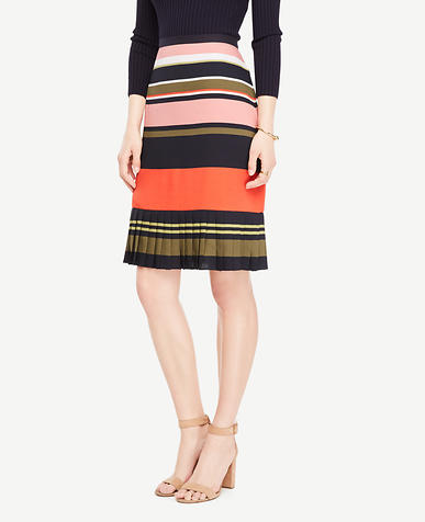 Image of Fluted Striped Skirt