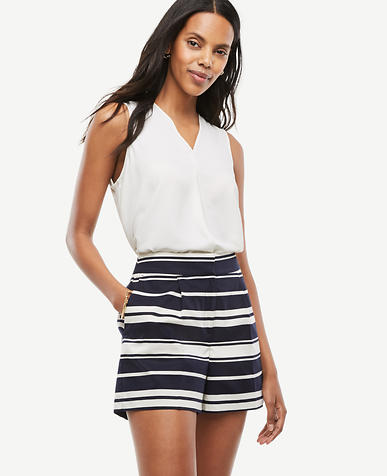 Image of Petite Pleated Striped Shorts
