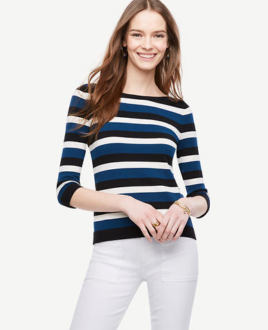 Image of Petite Striped Bateau Sweater
