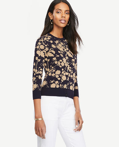 Image of Petite Shimmer Floral 3/4 Sleeve Ann Cardigan