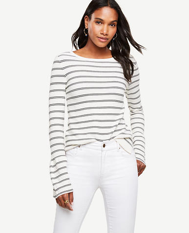 Image of Petite Striped Bell Sleeve Sweater