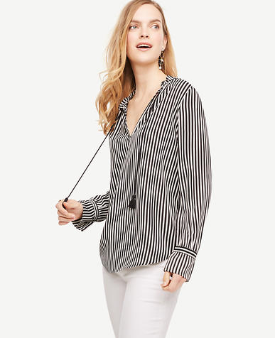Image of Striped Tassel Blouse