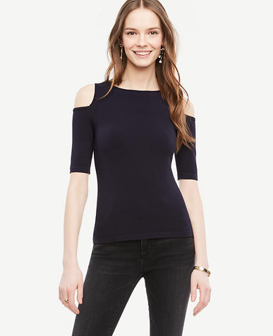 Image of Petite Cold Shoulder Sweater