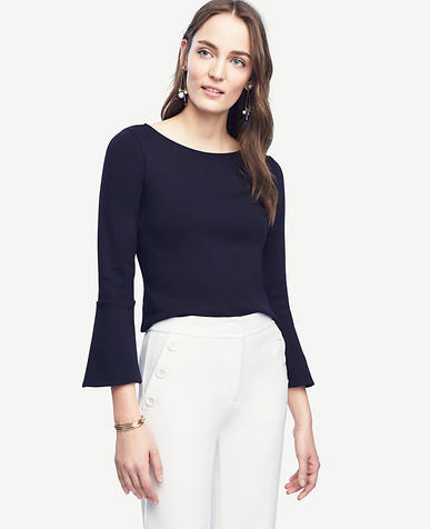 Image of Petite Fluted Boatneck Top